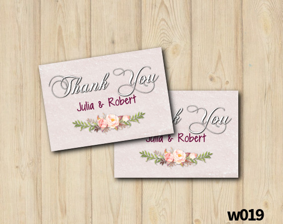 Custom Watercolor Wedding Thank you Card